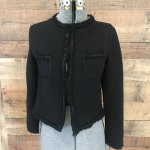 Zara Black Boucle Jacket Classic Cotton Blend